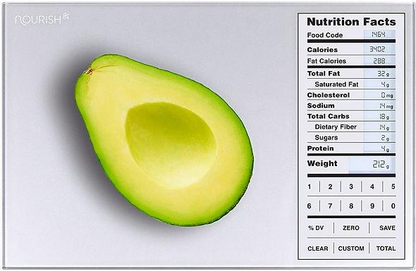 Báscula digital con tabla nutricional