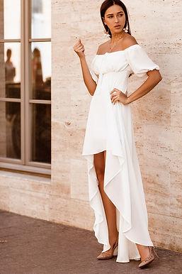 Каскадное платье с открытыми плечами