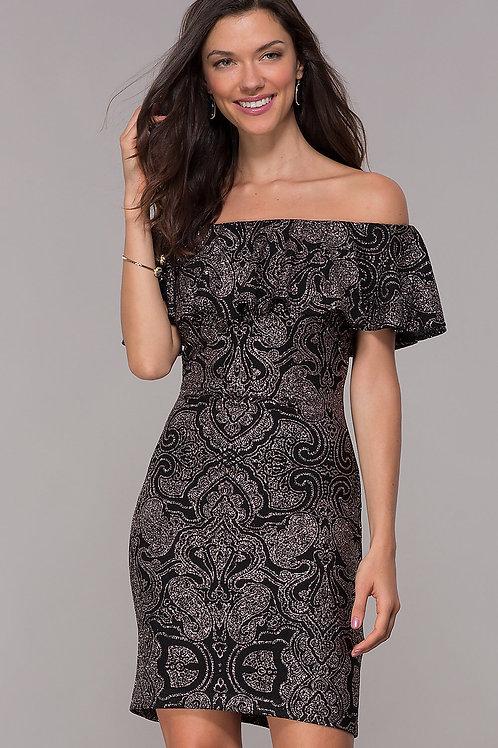Блестящее платье с верхней баской