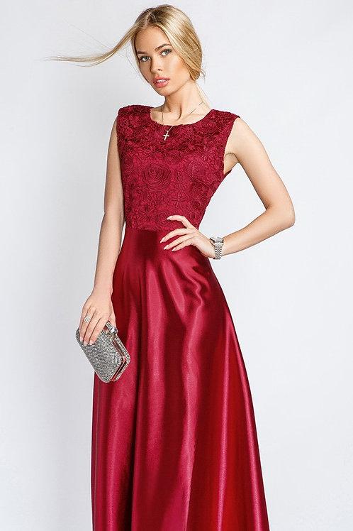 Длинное атласное платье