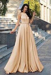 Атласное платье со шлейфом Камила