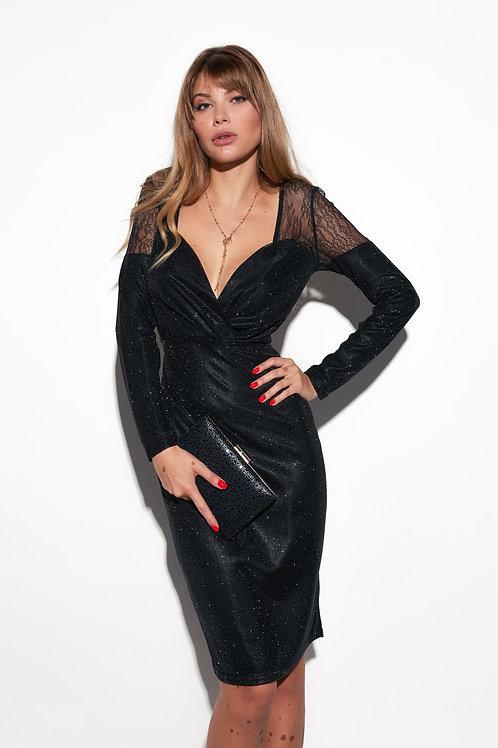 Мерцающее платье-футляр с кружевом