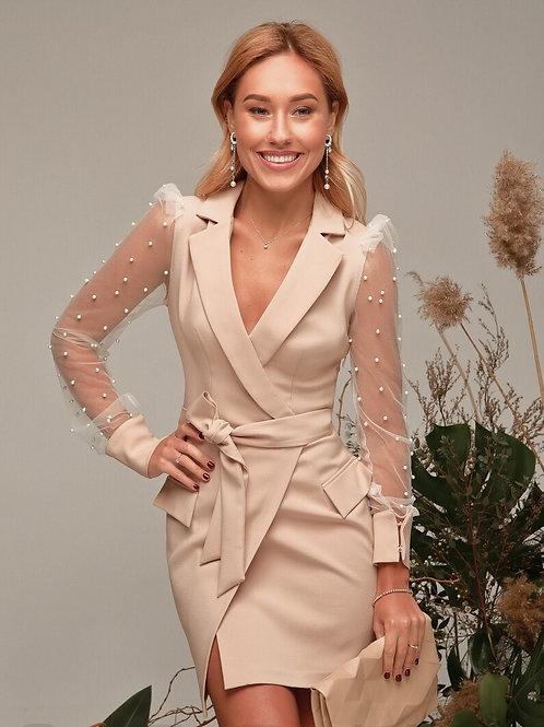 Платье пиджак с бусинами