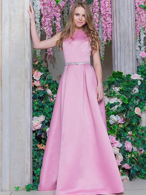 Сатиновое платье с поясом