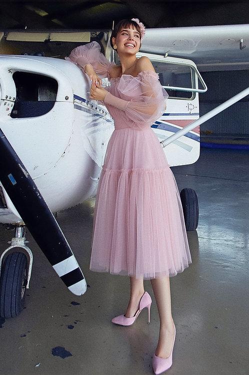Романтичное платье со съемными рукавами Шекли