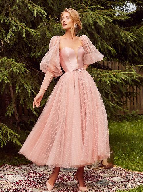 Платье миди со съемными рукавами Тэсса