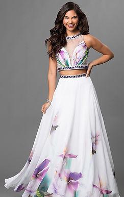 Выпускное раздельное платье с принтом