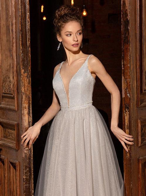 Серебристое платье на бретелях Лэсти