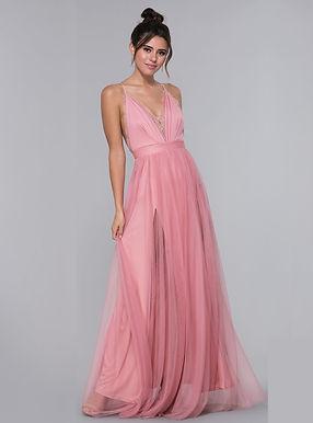 Пудровое платье на бретелях
