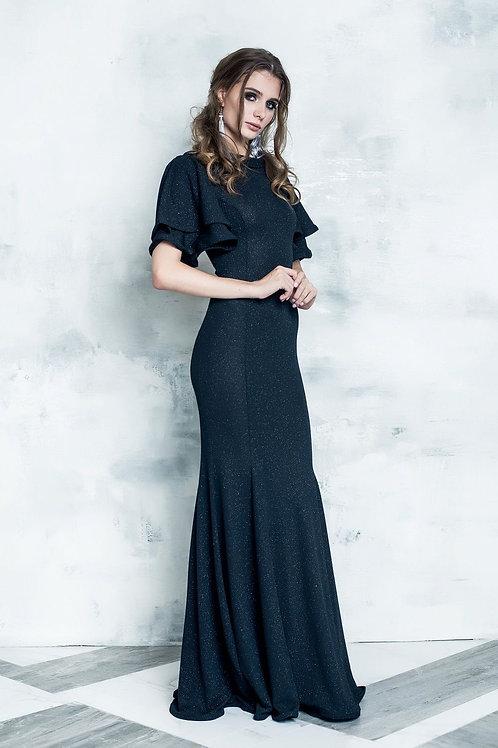 Элегантное вечернее платье с воланом