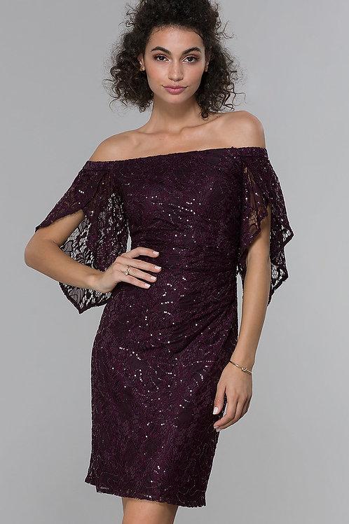 Вечернее платье с приспущенными плечами
