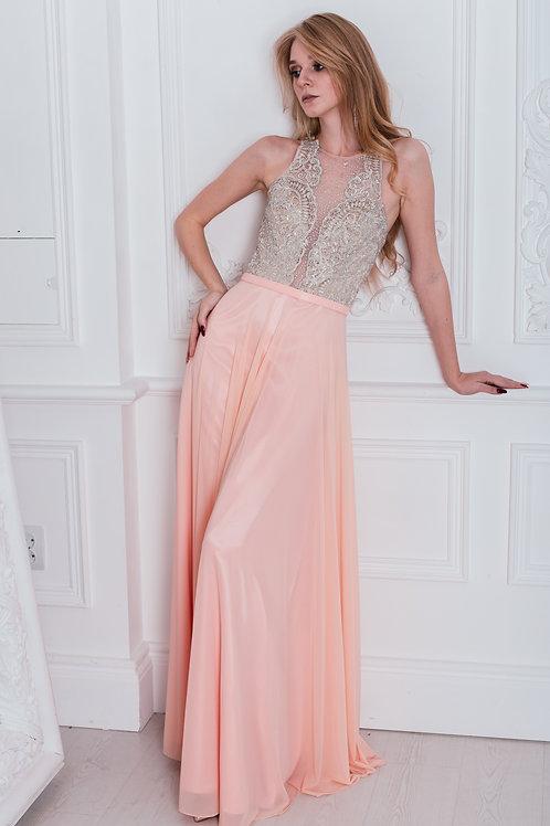 Выпускное платье с кружевным верхом