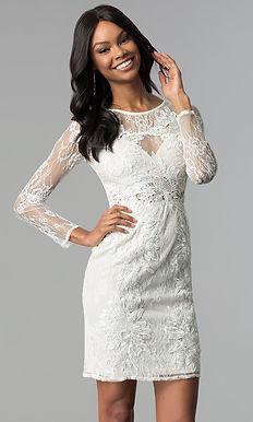 Коктейльное платье с кружевными рукавами