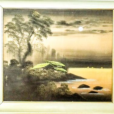 vintage painting on silk.  Original frame