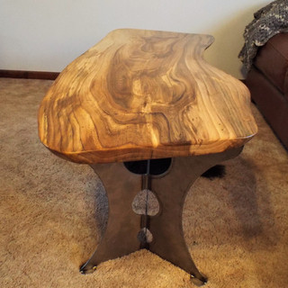 Beetle Kill Elm Coffee Table-Steel Leg