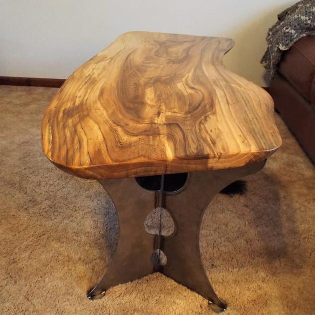 Beetle Kill Elm Coffee Table-Steel Leg