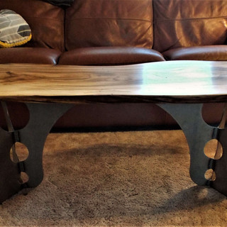 Elm Coffee Table Custom Steel Leg