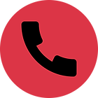 A circular shape with a telephone handset in it.