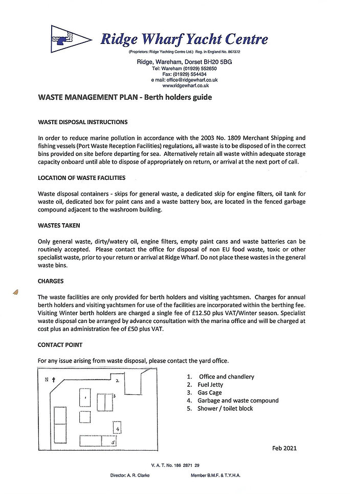 Waste Management Plan - Berth Holders gu