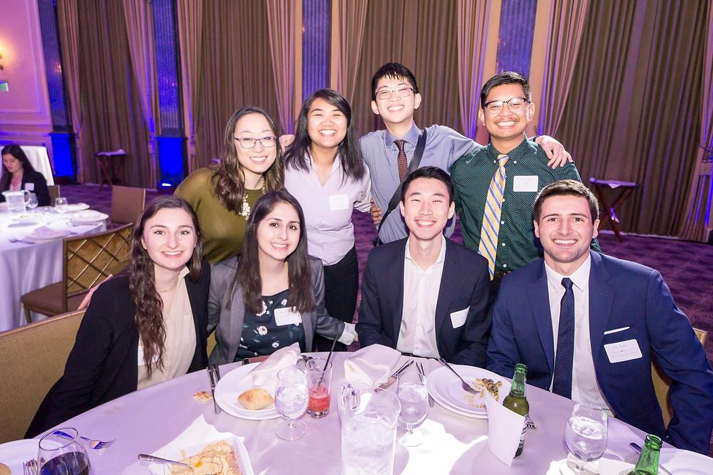 Students enjoying awards dinner after the job fair