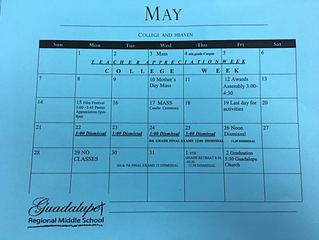 May Calendar for GRMS Families
