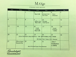 Parent Calendar for May
