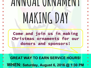 Service Opportunity: ANNUAL ORNAMENT MAKING DAY