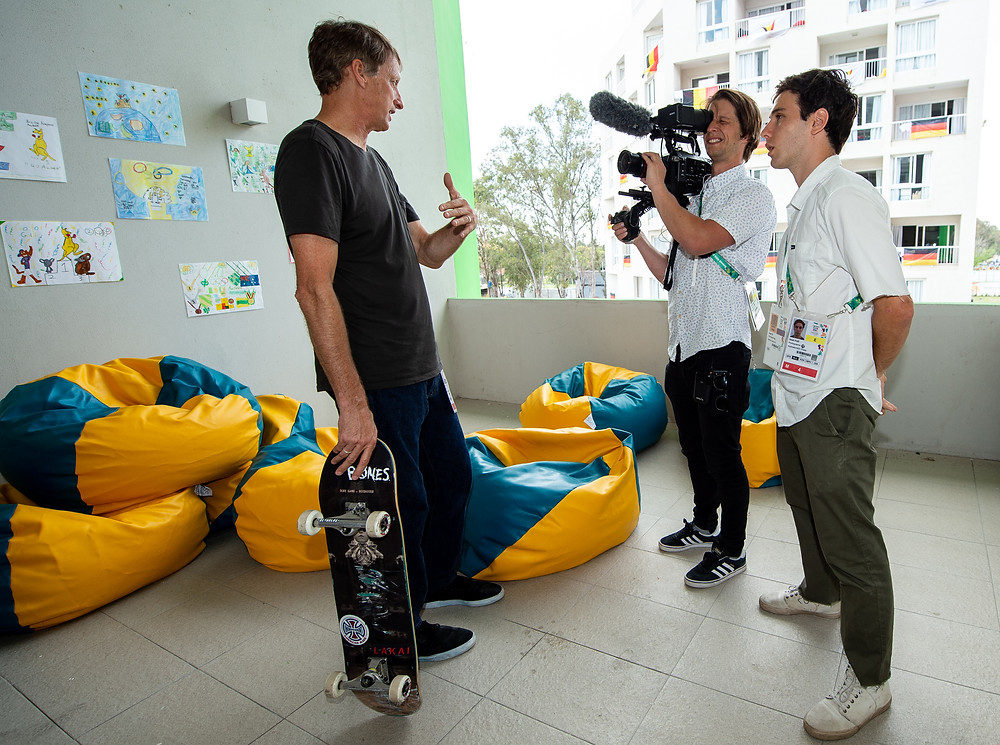 James Holman and Noah Fuzi interview Tony Hawk at the 2018 Buenos Aires Youth Olympic Games
