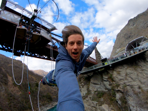 Jumping from the Kawarau Bridge after a days work for AJ Hackett Bungy