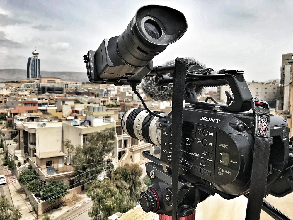 Filming on top of a friend's apartment in Sulaymaniyah. James Holman Film
