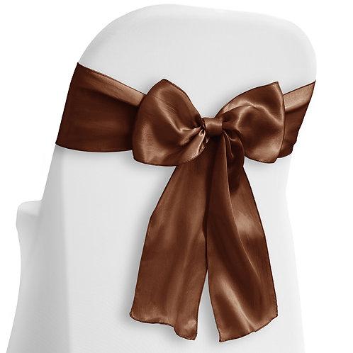 (Silk) Satin Chair  Sash - Brown - Wedding Party Banquet Reception