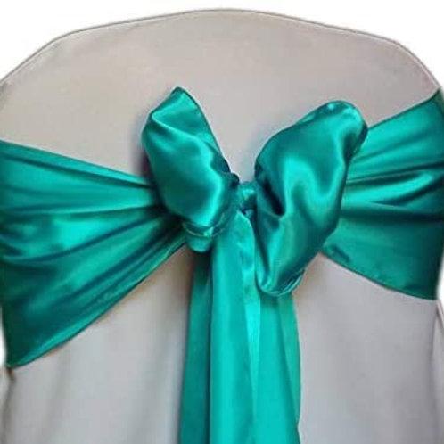 (Silk) Teal Satin Chair Sashes