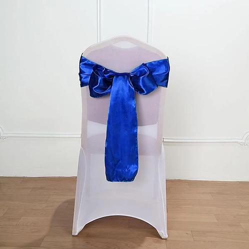(Silk) Royal Blue Satin Chair Sashes Bow
