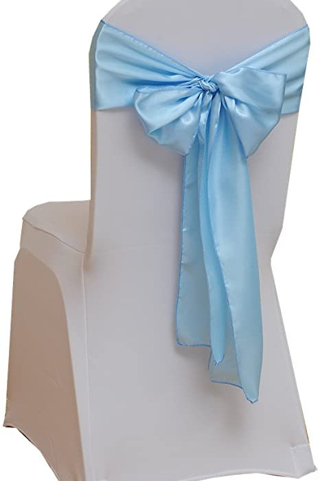 (Organza ) Sky Blue Party Chair Ribbons Satin Chair Sashes Wedding Chair Bows