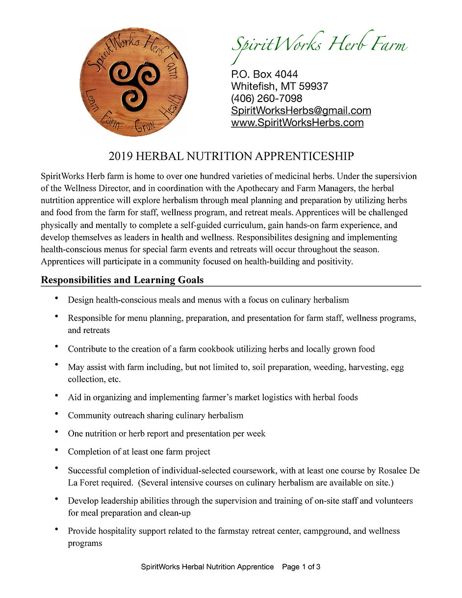 SpiritWorks Herbal Nutrition Apprentices