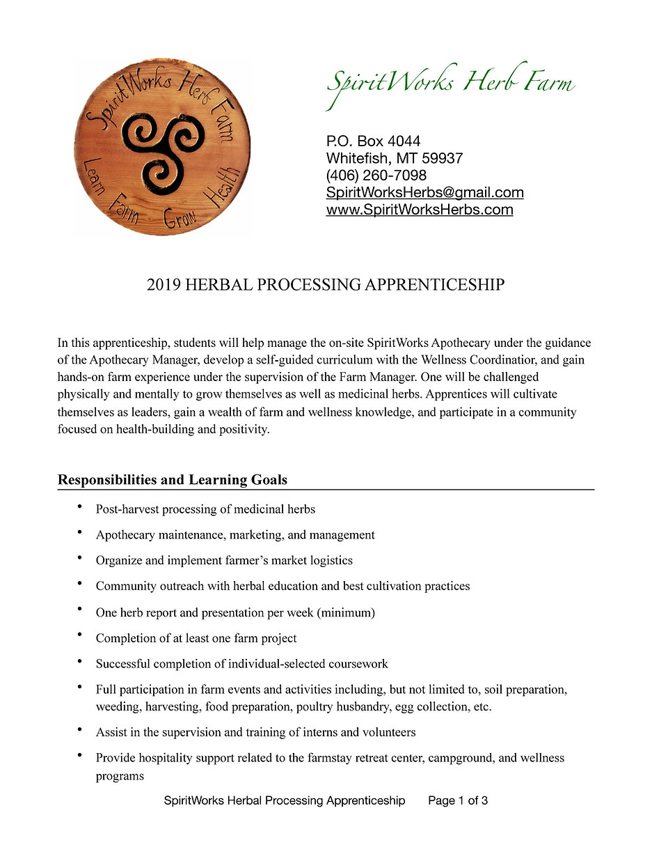 SpiritWorks Herbal Processing Apprentice