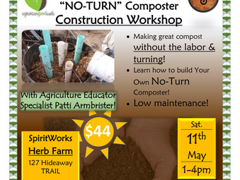 No-Turn Composter Construction Workshop May 11th, 1-4pm with Patti Armbrister
