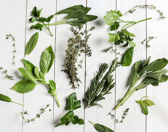 different-herbs-white-wooden-table-top-v