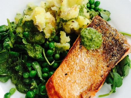 Pan fried Salmon with peas, watercress and green herb dressing.