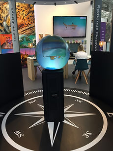 Hayes and Jarvis trade stand globe at the 'Destinations: The Holiday and Travel Show' in London, February 2018