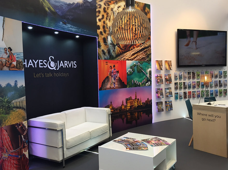 Hayes and Jarvis trade stand at the 'Destinations: The Holiday and Travel Show' in London, February 2018