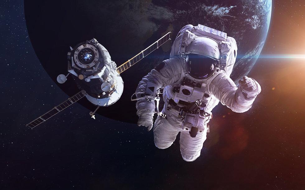 Spacecraft Soyuz orbiting the earth. Ele