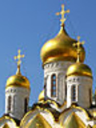 7.  Golden onion domes on a Russian church