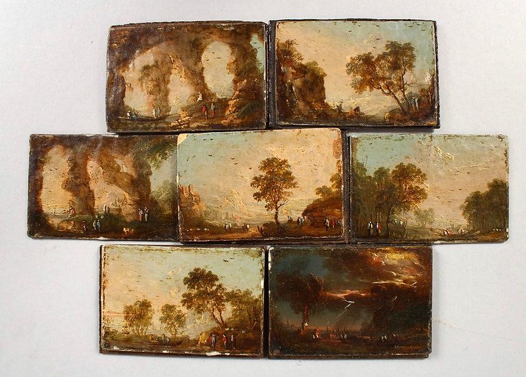 Seven small 18th century oil on panels landscapes