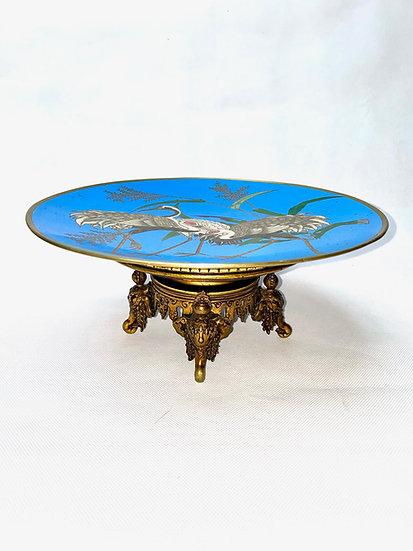 19th century Japanese enamel dish mounted with French bronze mounts