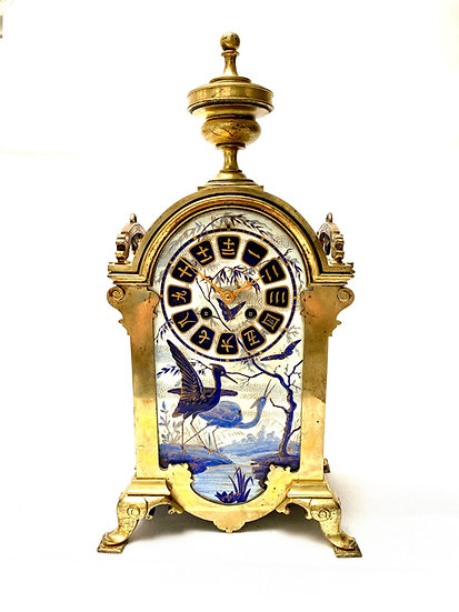 French 19th century Japonisme bronze and porcelain clock, circa 1880