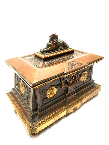 A French 19th c three-tone bronze casket or jewellery box by Oudry