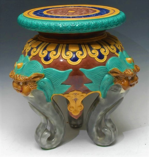 Minton or Brown-Westhead & Moore Chinoiserie majolica garden seat