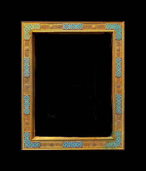 French 19th c Orientalist gilt bronze and polychrome enamel frame