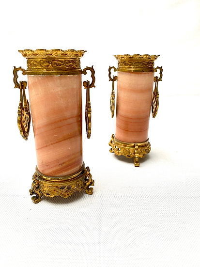 Pair of French 19th century onyx and gilt bronze vases